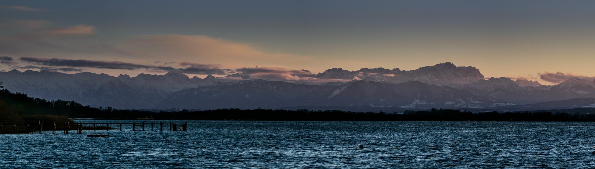 Ammersee mit Alpenpanorama und Zugspitze